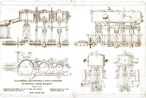 Bouwtekeningen van de scheepsmotoren van de kruiser Noord-Brabant, ca. 1899