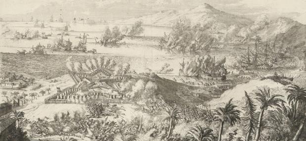 De slag bij Tobago, 3 maart 1677. Detail van gravure door Romeyn de Hooghe (Collectie Rijksmuseum)