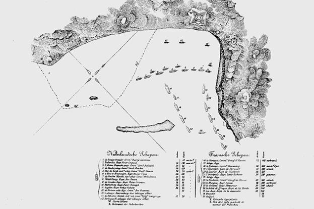 De slag tussen een Nederlands en Frans eskader op 1677 (Bron: UConn Today).