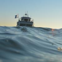 Duikersperspectief van het onderzoeksschip ter hoogte van de Goodwin Sands (Foto: Maritiem Programma, RCE)
